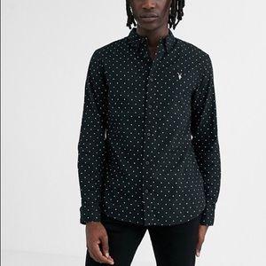 Allsaints Bethel polka dot button down shirt
